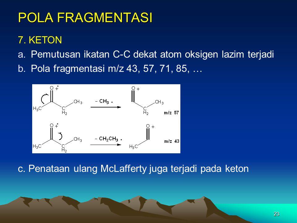 23 POLA FRAGMENTASI 7. KETON a.Pemutusan ikatan C-C dekat atom oksigen lazim terjadi b.Pola fragmentasi m/z 43, 57, 71, 85, … c. Penataan ulang McLaff