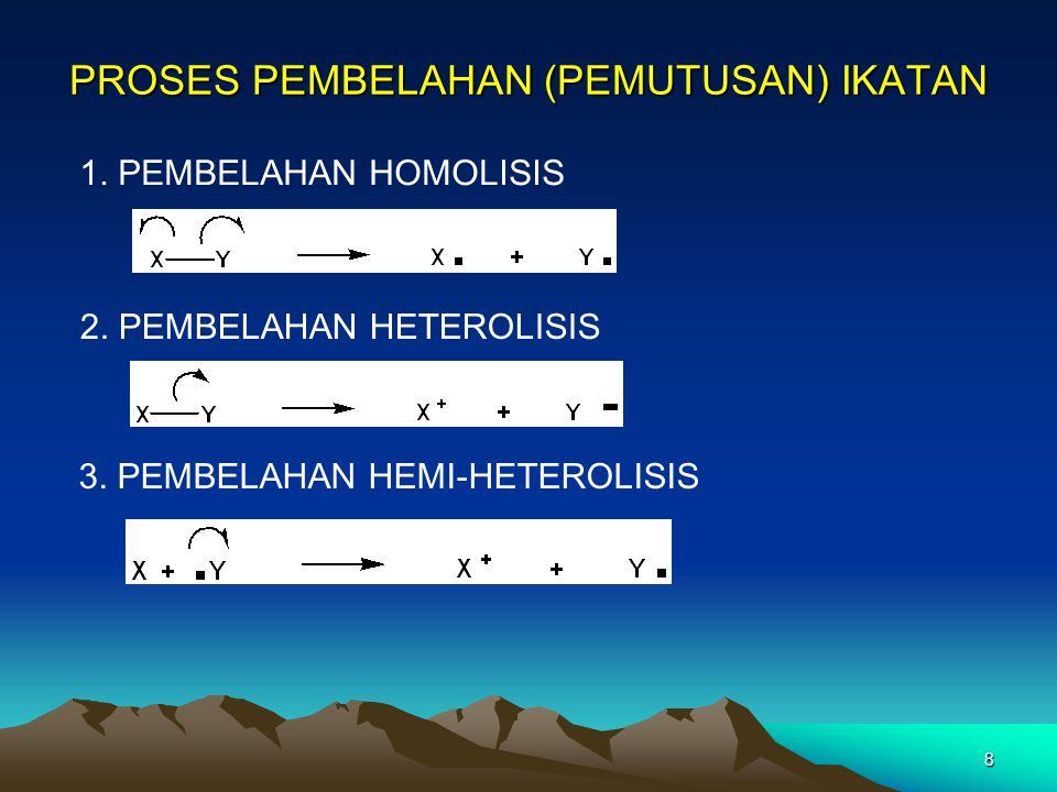 8 PROSES PEMBELAHAN (PEMUTUSAN) IKATAN 1. PEMBELAHAN HOMOLISIS 2. PEMBELAHAN HETEROLISIS 3. PEMBELAHAN HEMI-HETEROLISIS