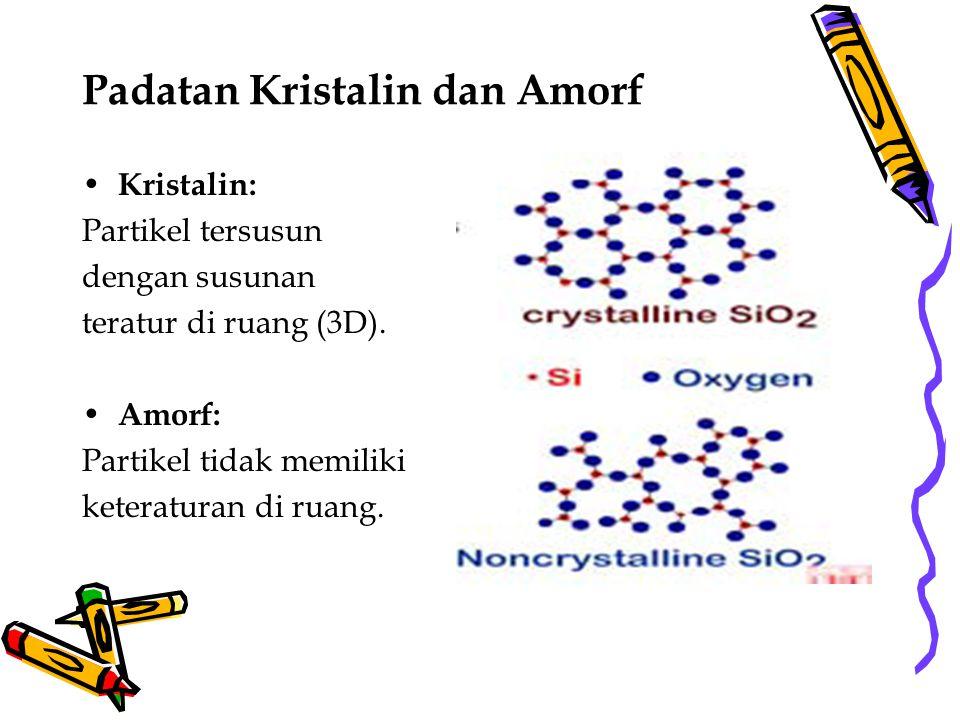 Padatan Kristalin dan Amorf Kristalin: Partikel tersusun dengan susunan teratur di ruang (3D). Amorf: Partikel tidak memiliki keteraturan di ruang.