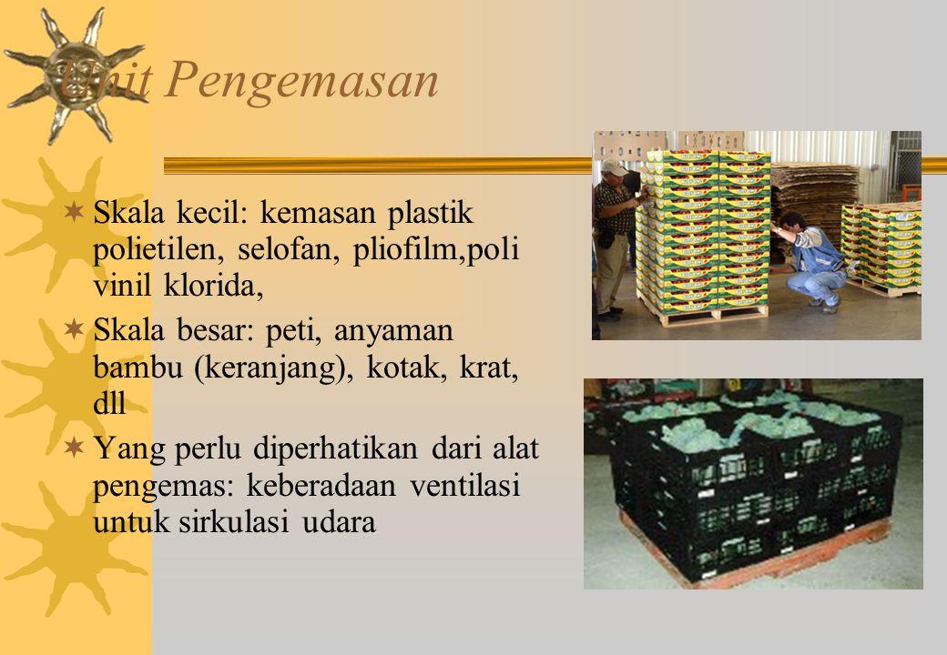 Unit Pengemasan  Skala kecil: kemasan plastik polietilen, selofan, pliofilm,poli vinil klorida,  Skala besar: peti, anyaman bambu (keranjang), kotak