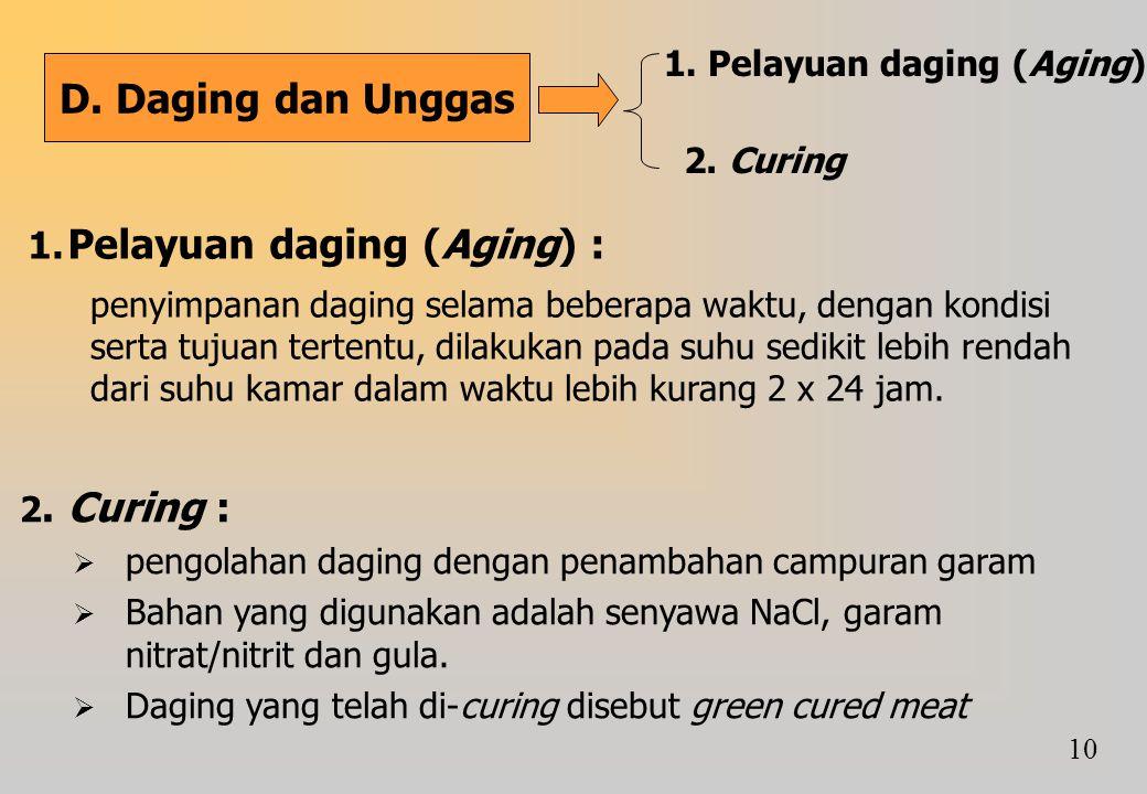 D. Daging dan Unggas 1. Pelayuan daging (Aging) 2. Curing 1. Pelayuan daging (Aging) : penyimpanan daging selama beberapa waktu, dengan kondisi serta