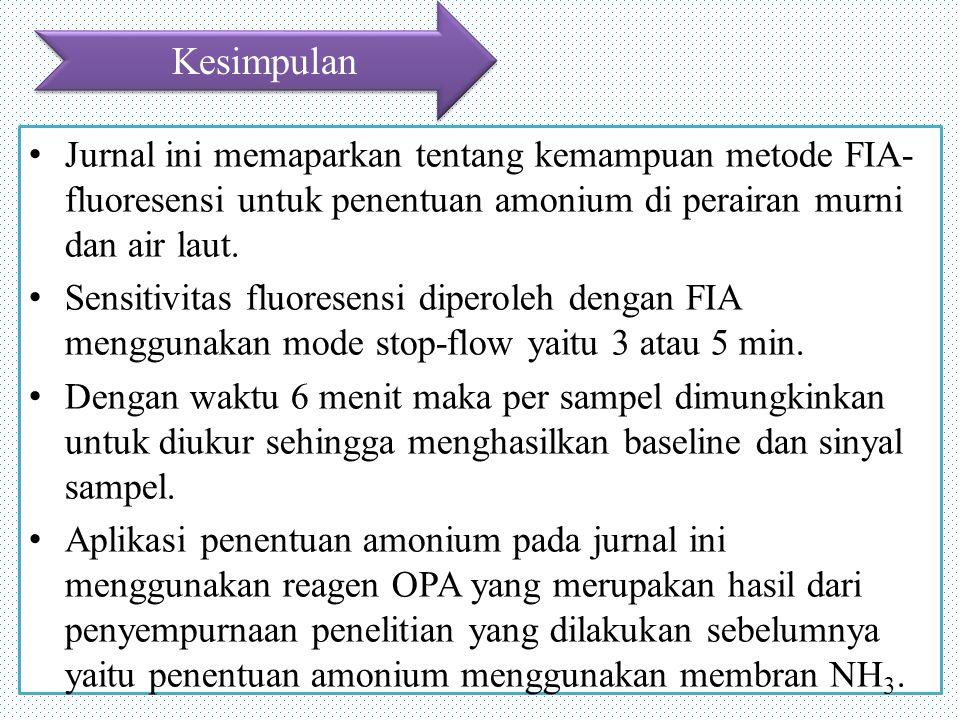Kesimpulan Jurnal ini memaparkan tentang kemampuan metode FIA- fluoresensi untuk penentuan amonium di perairan murni dan air laut.