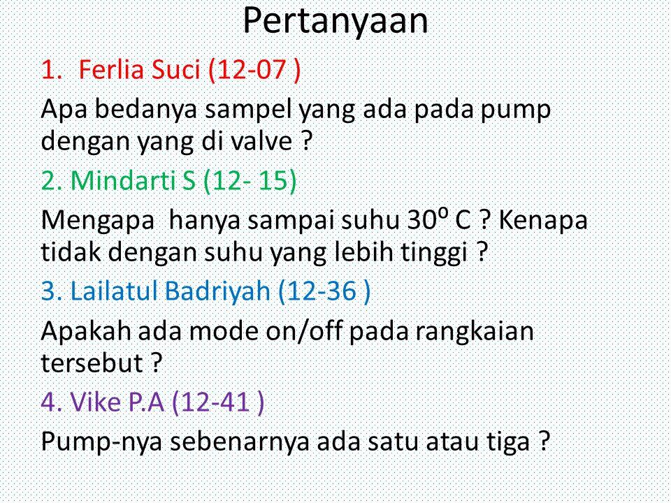 Pertanyaan 1.Ferlia Suci (12-07 ) Apa bedanya sampel yang ada pada pump dengan yang di valve .
