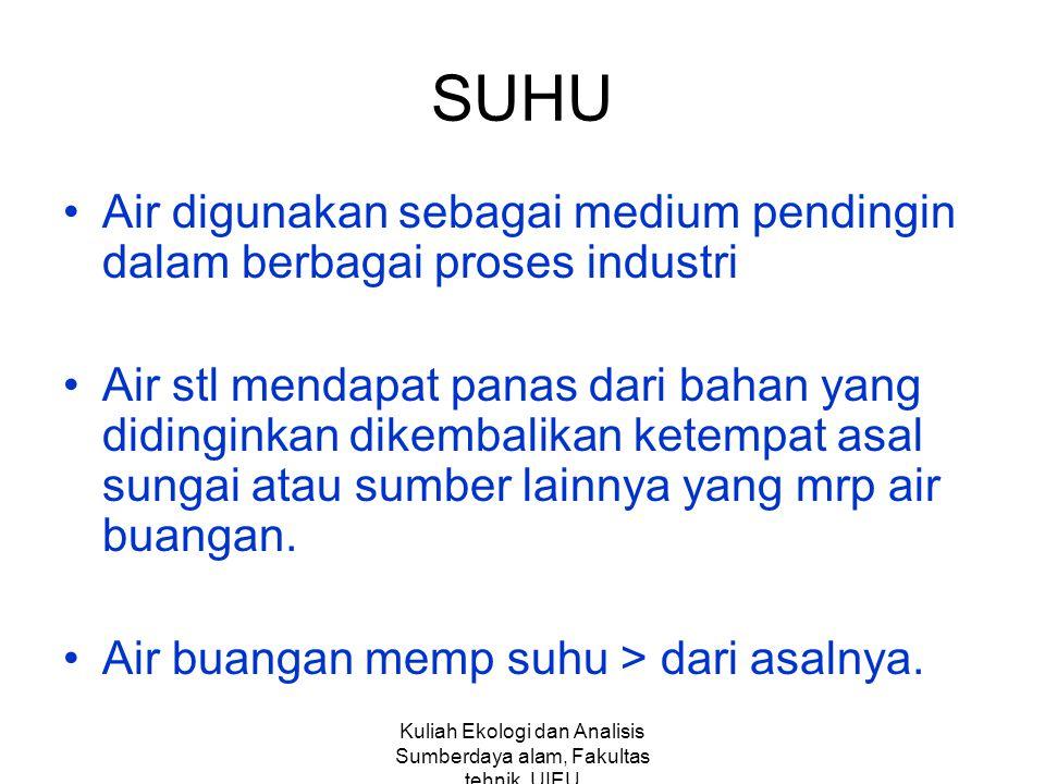 Kuliah Ekologi dan Analisis Sumberdaya alam, Fakultas tehnik,UIEU SUHU Air digunakan sebagai medium pendingin dalam berbagai proses industri Air stl m