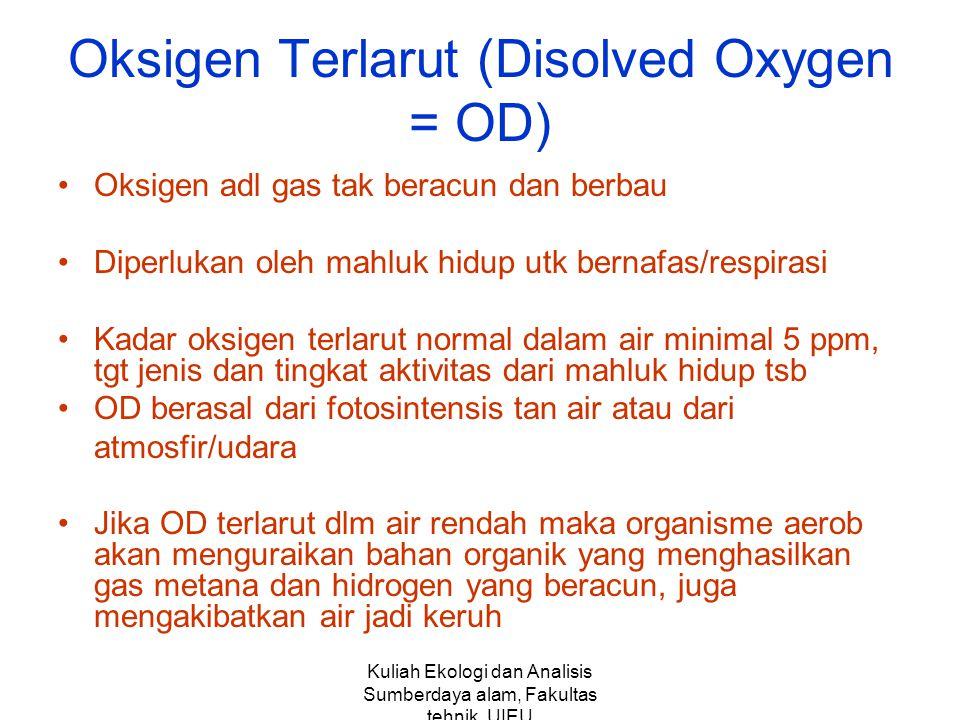 Kuliah Ekologi dan Analisis Sumberdaya alam, Fakultas tehnik,UIEU Oksigen Terlarut (Disolved Oxygen = OD) Oksigen adl gas tak beracun dan berbau Diper