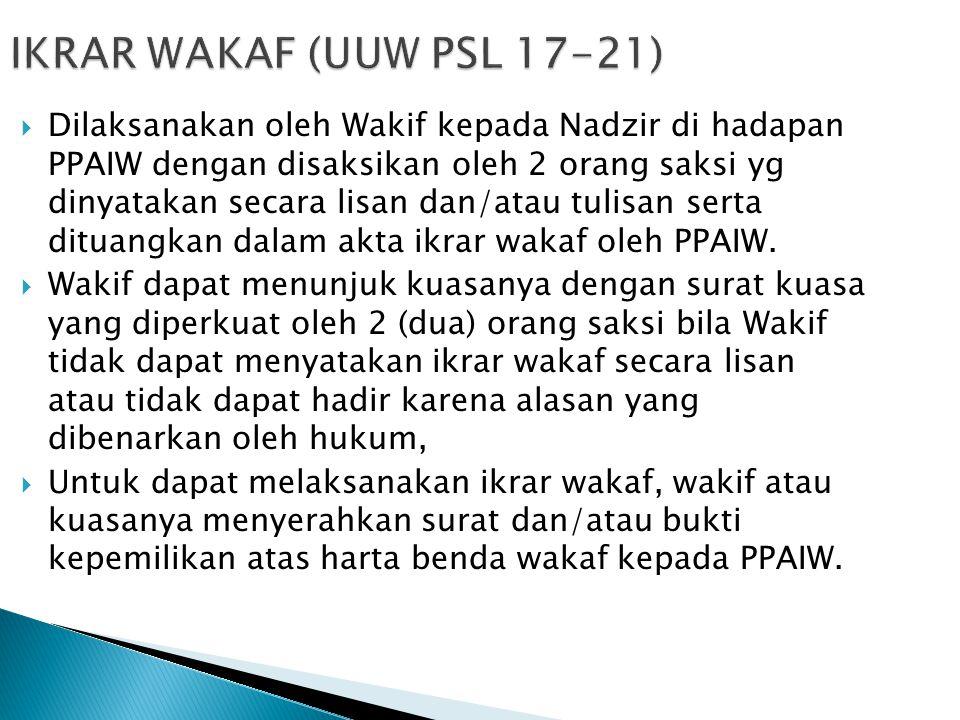  Dilaksanakan oleh Wakif kepada Nadzir di hadapan PPAIW dengan disaksikan oleh 2 orang saksi yg dinyatakan secara lisan dan/atau tulisan serta dituan
