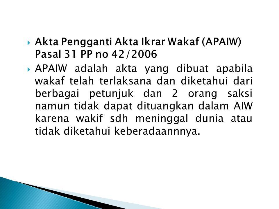  Akta Pengganti Akta Ikrar Wakaf (APAIW) Pasal 31 PP no 42/2006  APAIW adalah akta yang dibuat apabila wakaf telah terlaksana dan diketahui dari ber