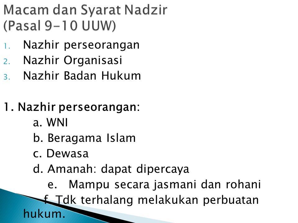 1. Nazhir perseorangan 2. Nazhir Organisasi 3. Nazhir Badan Hukum 1. Nazhir perseorangan: a. WNI b. Beragama Islam c. Dewasa d. Amanah: dapat dipercay