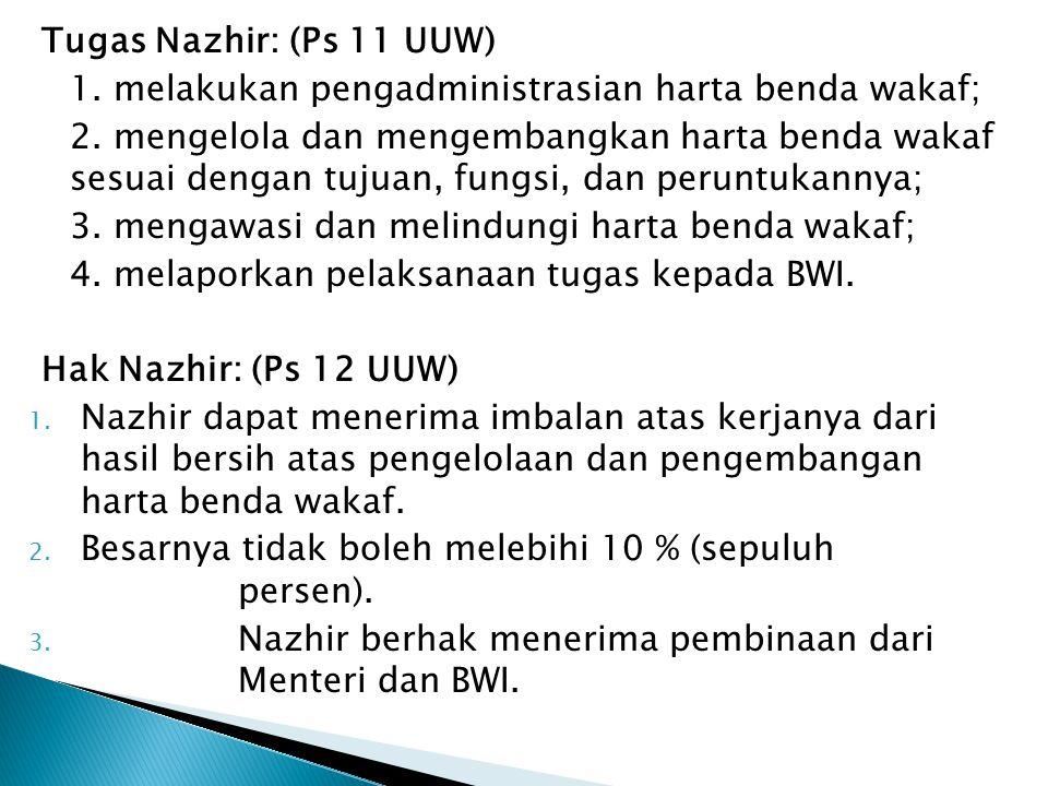Tugas Nazhir: (Ps 11 UUW) 1. melakukan pengadministrasian harta benda wakaf; 2. mengelola dan mengembangkan harta benda wakaf sesuai dengan tujuan, fu