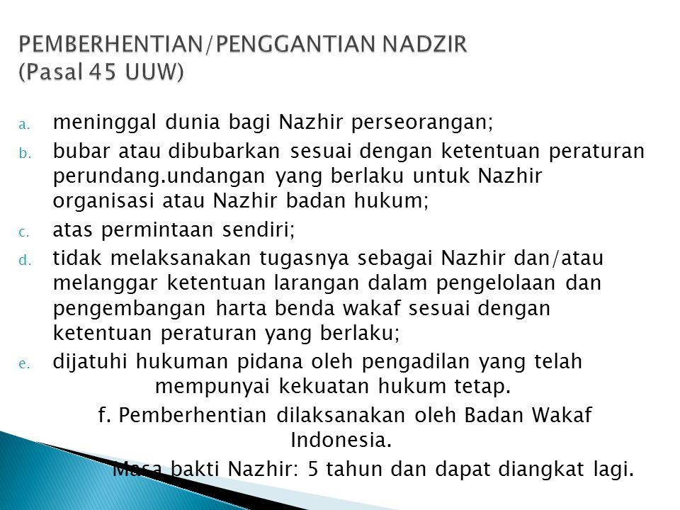 a. meninggal dunia bagi Nazhir perseorangan; b. bubar atau dibubarkan sesuai dengan ketentuan peraturan perundang.undangan yang berlaku untuk Nazhir o
