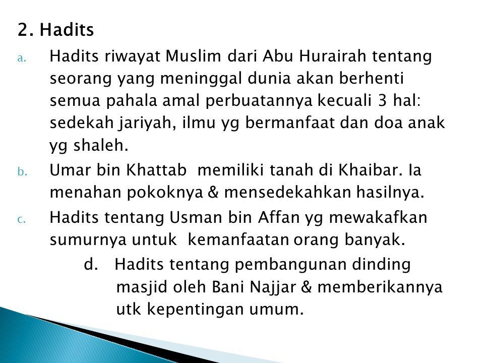 2. Hadits a. Hadits riwayat Muslim dari Abu Hurairah tentang seorang yang meninggal dunia akan berhenti semua pahala amal perbuatannya kecuali 3 hal: