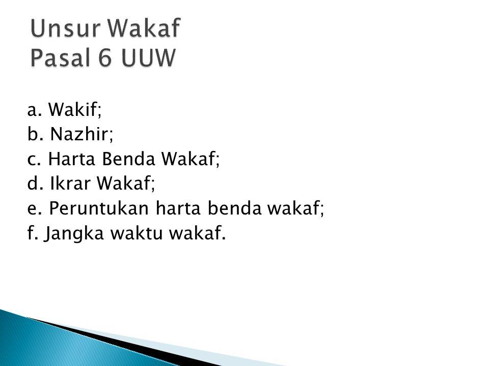 a. Wakif; b. Nazhir; c. Harta Benda Wakaf; d. Ikrar Wakaf; e. Peruntukan harta benda wakaf; f. Jangka waktu wakaf.