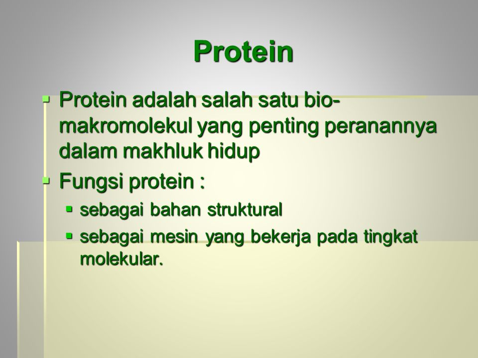 Protein  Protein adalah salah satu bio- makromolekul yang penting peranannya dalam makhluk hidup  Fungsi protein :  sebagai bahan struktural  sebagai mesin yang bekerja pada tingkat molekular.