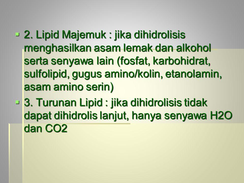  2. Lipid Majemuk : jika dihidrolisis menghasilkan asam lemak dan alkohol serta senyawa lain (fosfat, karbohidrat, sulfolipid, gugus amino/kolin, eta