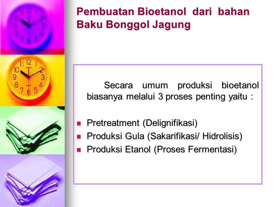 Pembuatan Bioetanol dari bahan Baku Bonggol Jagung Secara umum produksi bioetanol biasanya melalui 3 proses penting yaitu : Pretreatment (Delignifikasi) Pretreatment (Delignifikasi) Produksi Gula (Sakarifikasi/ Hidrolisis) Produksi Gula (Sakarifikasi/ Hidrolisis) Produksi Etanol (Proses Fermentasi) Produksi Etanol (Proses Fermentasi)