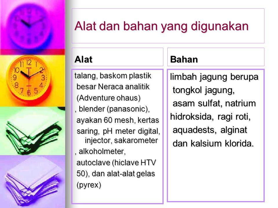 Alat dan bahan yang digunakan Alat talang, baskom plastik besar Neraca analitik besar Neraca analitik (Adventure ohaus) (Adventure ohaus), blender (pa