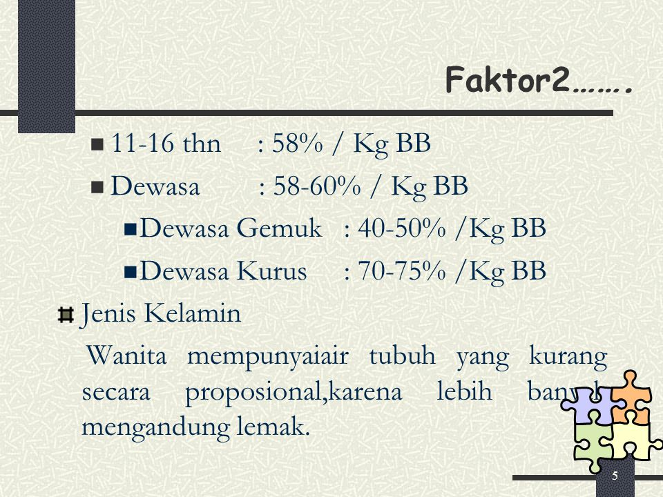 5 Faktor2 ……. 11-16 thn : 58% / Kg BB Dewasa : 58-60% / Kg BB Dewasa Gemuk : 40-50% /Kg BB Dewasa Kurus : 70-75% /Kg BB Jenis Kelamin Wanita mempunyai