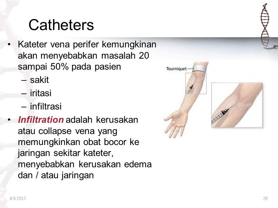 Catheters Kateter vena perifer kemungkinan akan menyebabkan masalah 20 sampai 50% pada pasien –sakit –iritasi –infiltrasi Infiltration adalah kerusaka