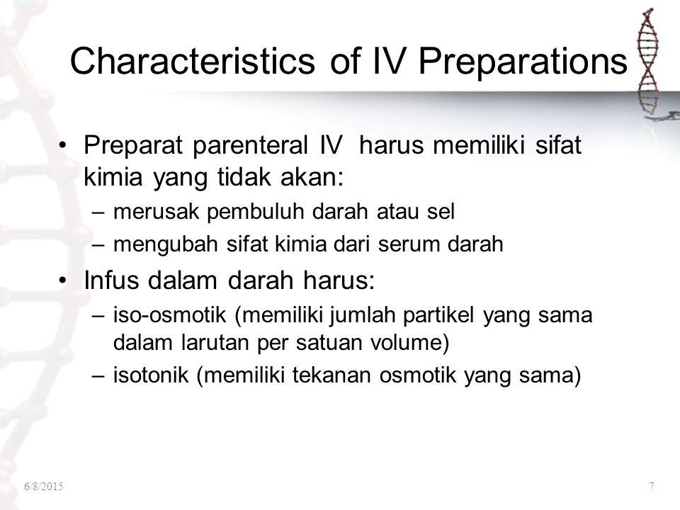 Characteristics of IV Preparations Preparat parenteral IV harus memiliki sifat kimia yang tidak akan: –merusak pembuluh darah atau sel –mengubah sifat