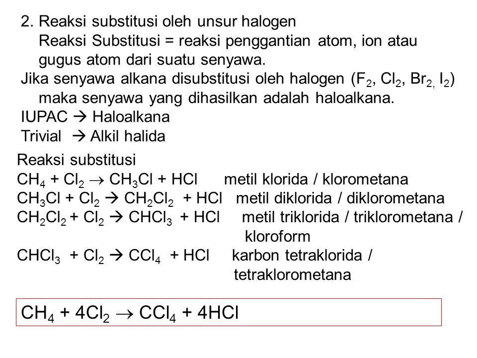 2.Reaksi substitusi oleh unsur halogen Reaksi Substitusi = reaksi penggantian atom, ion atau gugus atom dari suatu senyawa. Jika senyawa alkana disubs