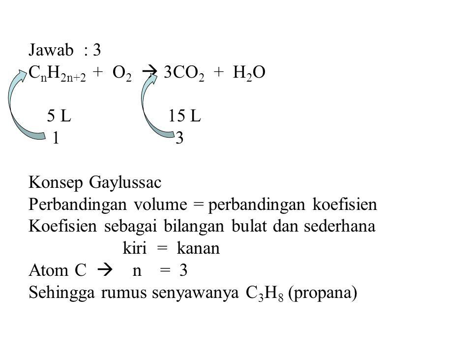 Jawab : 3 C n H 2n+2 + O 2  3CO 2 + H 2 O 5 L 15 L 1 3 Konsep Gaylussac Perbandingan volume = perbandingan koefisien Koefisien sebagai bilangan bulat