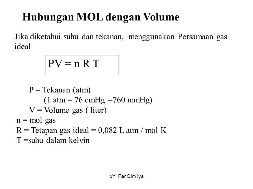 Hubungan MOL dengan Volume Jika diketahui suhu dan tekanan, menggunakan Persamaan gas ideal PV = n R T P = Tekanan (atm) (1 atm = 76 cmHg =760 mmHg) V