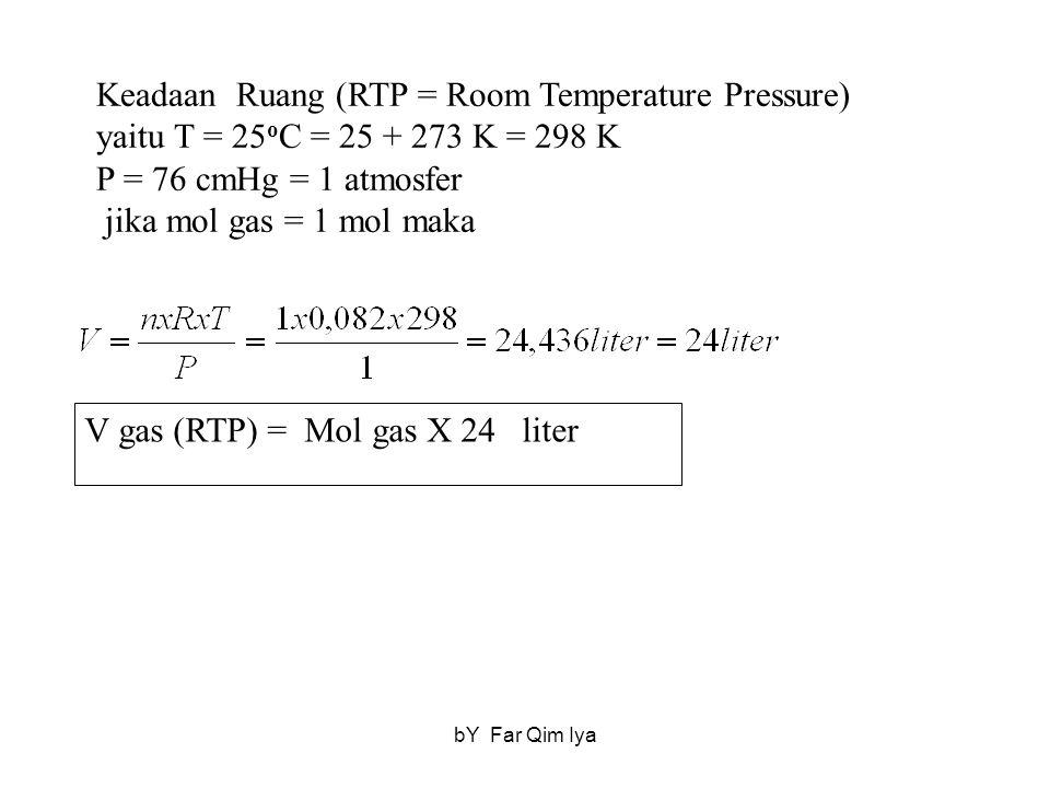 V gas (RTP) = Mol gas X 24 liter Keadaan Ruang (RTP = Room Temperature Pressure) yaitu T = 25 o C = 25 + 273 K = 298 K P = 76 cmHg = 1 atmosfer jika m