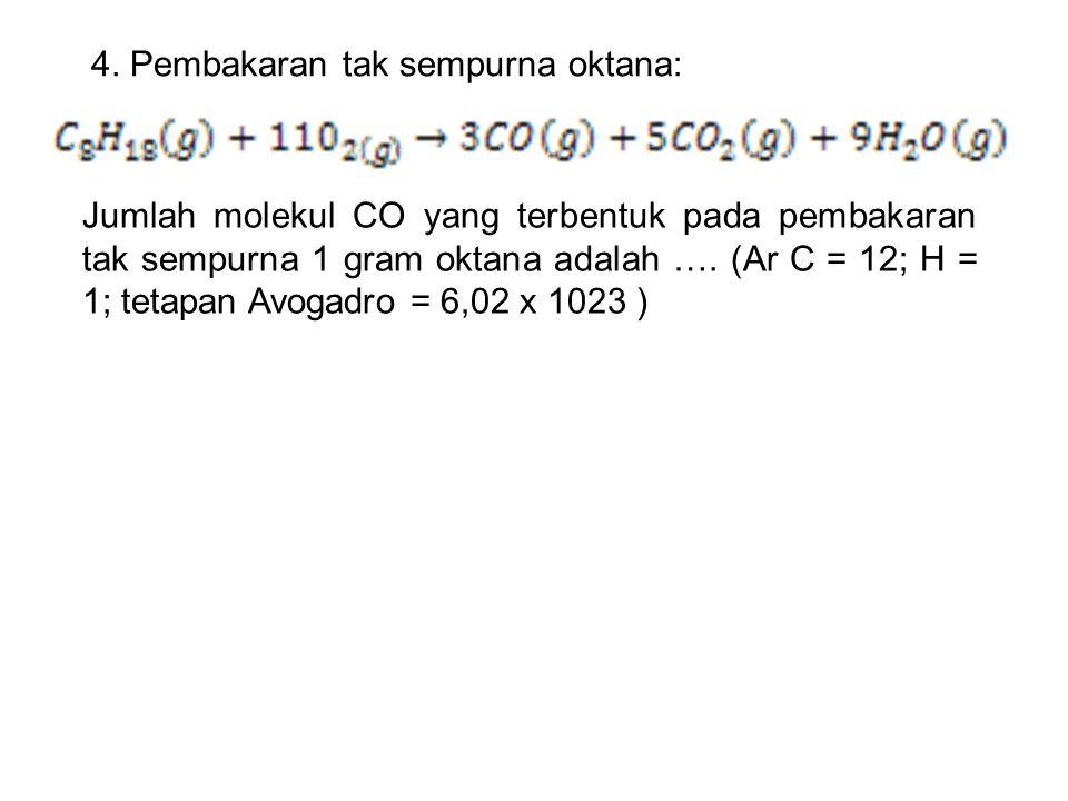 4. Pembakaran tak sempurna oktana: Jumlah molekul CO yang terbentuk pada pembakaran tak sempurna 1 gram oktana adalah …. (Ar C = 12; H = 1; tetapan Av
