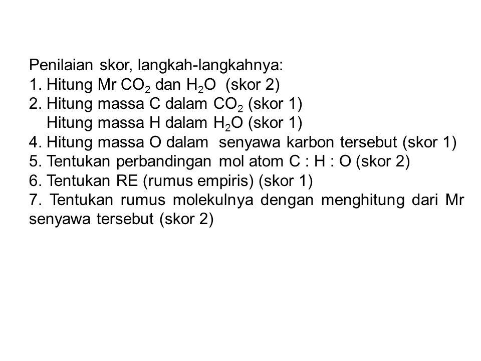 Penilaian skor, langkah-langkahnya: 1. Hitung Mr CO 2 dan H 2 O (skor 2) 2. Hitung massa C dalam CO 2 (skor 1) Hitung massa H dalam H 2 O (skor 1) 4.