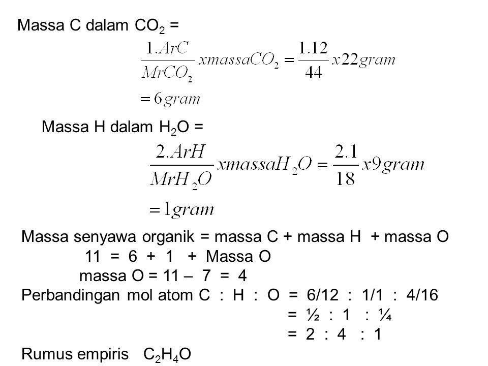 Massa C dalam CO 2 = Massa H dalam H 2 O = Massa senyawa organik = massa C + massa H + massa O 11 = 6 + 1 + Massa O massa O = 11 – 7 = 4 Perbandingan