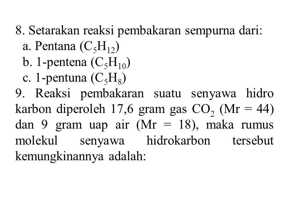 8. Setarakan reaksi pembakaran sempurna dari: a. Pentana (C 5 H 12 ) b. 1-pentena (C 5 H 10 ) c. 1-pentuna (C 5 H 8 ) 9. Reaksi pembakaran suatu senya