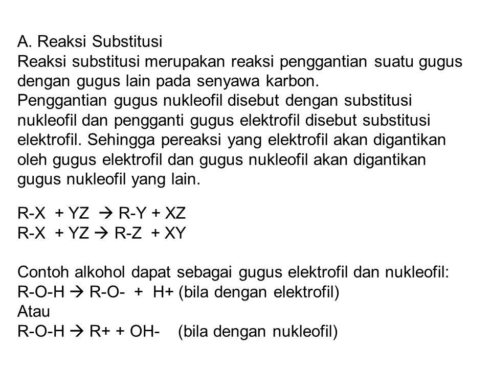 A. Reaksi Substitusi Reaksi substitusi merupakan reaksi penggantian suatu gugus dengan gugus lain pada senyawa karbon. Penggantian gugus nukleofil dis