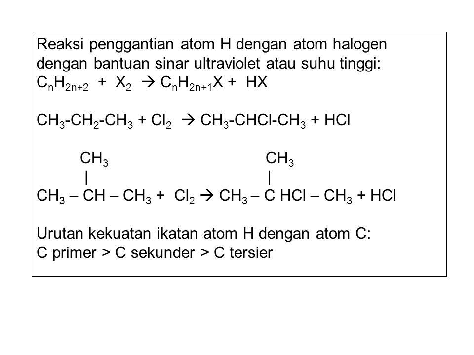 Reaksi penggantian atom H dengan atom halogen dengan bantuan sinar ultraviolet atau suhu tinggi: C n H 2n+2 + X 2  C n H 2n+1 X + HX CH 3 -CH 2 -CH 3