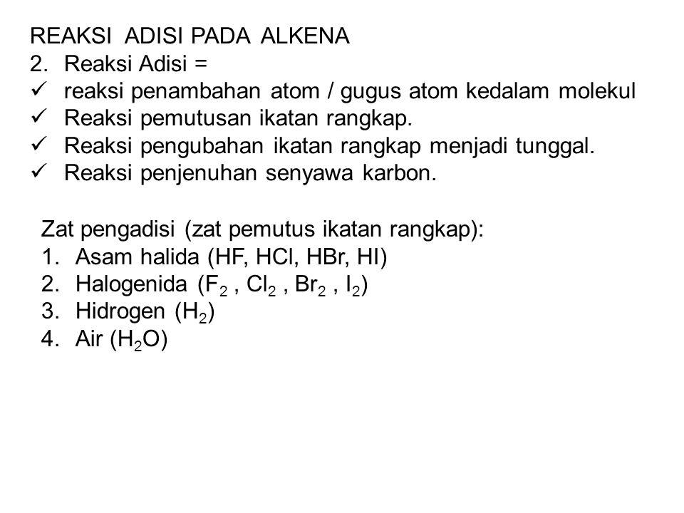 REAKSI ADISI PADA ALKENA 2.Reaksi Adisi = reaksi penambahan atom / gugus atom kedalam molekul Reaksi pemutusan ikatan rangkap. Reaksi pengubahan ikata