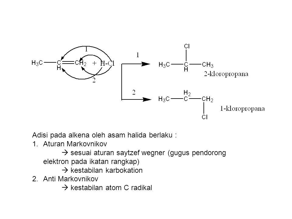 Adisi pada alkena oleh asam halida berlaku : 1.Aturan Markovnikov  sesuai aturan saytzef wegner (gugus pendorong elektron pada ikatan rangkap)  kest