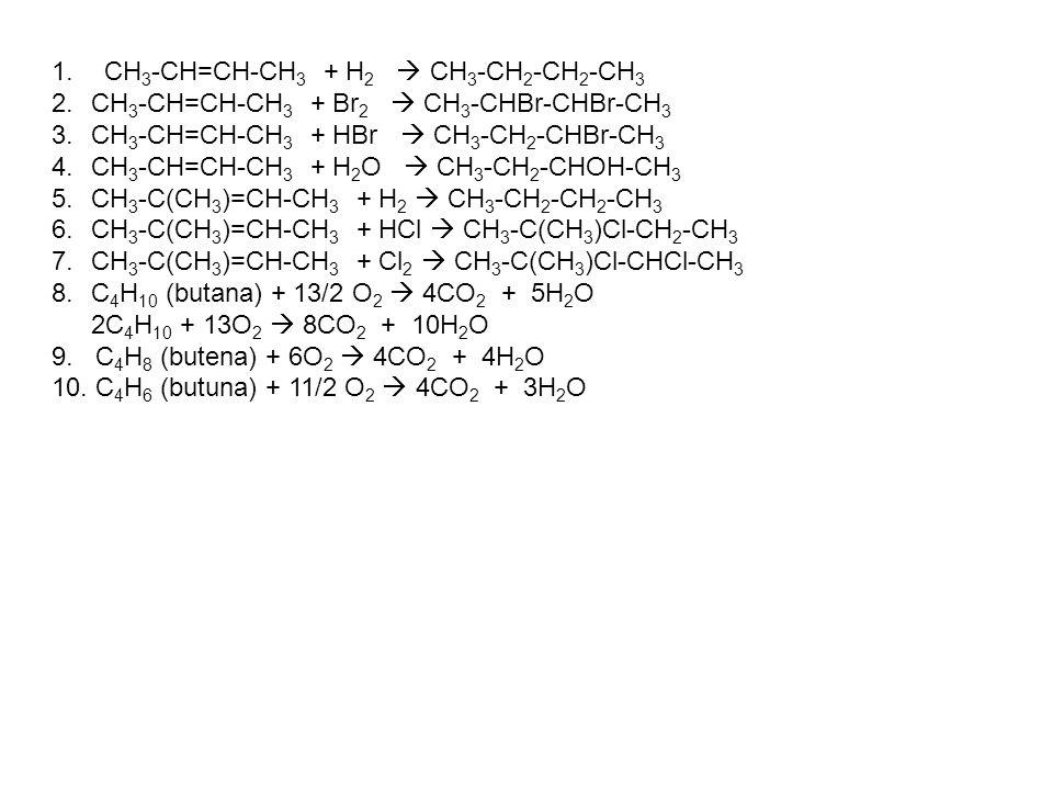 1.CH 3 -CH=CH-CH 3 + H 2  CH 3 -CH 2 -CH 2 -CH 3 2.CH 3 -CH=CH-CH 3 + Br 2  CH 3 -CHBr-CHBr-CH 3 3.CH 3 -CH=CH-CH 3 + HBr  CH 3 -CH 2 -CHBr-CH 3 4.