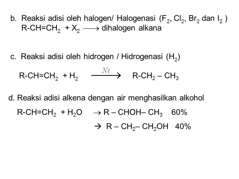 b. Reaksi adisi oleh halogen/ Halogenasi (F 2, Cl 2, Br 2 dan I 2 ) R-CH=CH 2 + X 2  dihalogen alkana c. Reaksi adisi oleh hidrogen / Hidrogenasi (H