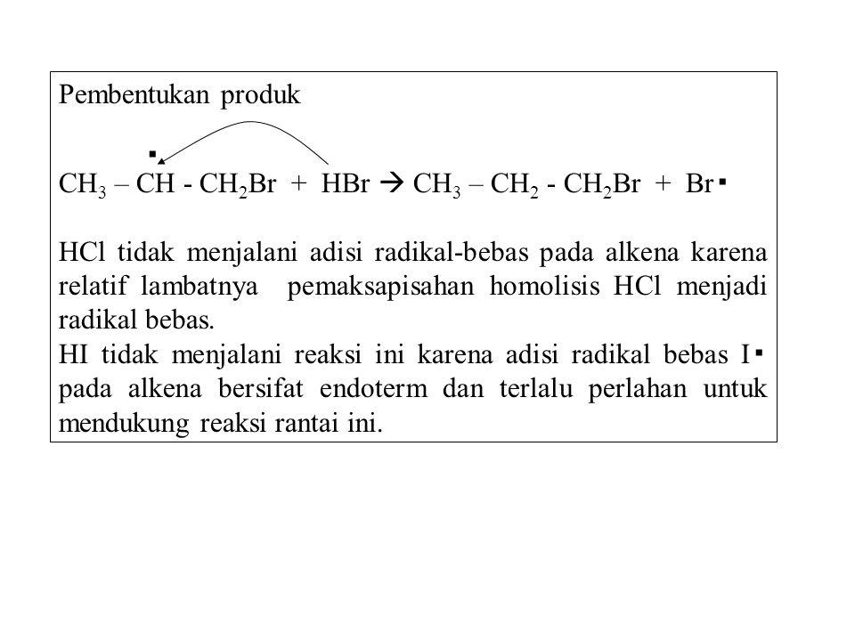 Pembentukan produk ▪ CH 3 – CH - CH 2 Br + HBr  CH 3 – CH 2 - CH 2 Br + Br ▪ HCl tidak menjalani adisi radikal-bebas pada alkena karena relatif lamba
