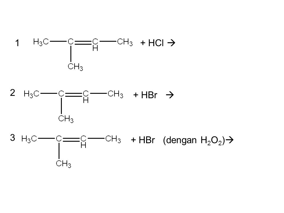 + HBr  + HBr (dengan H 2 O 2 )  + HCl  1 2 3