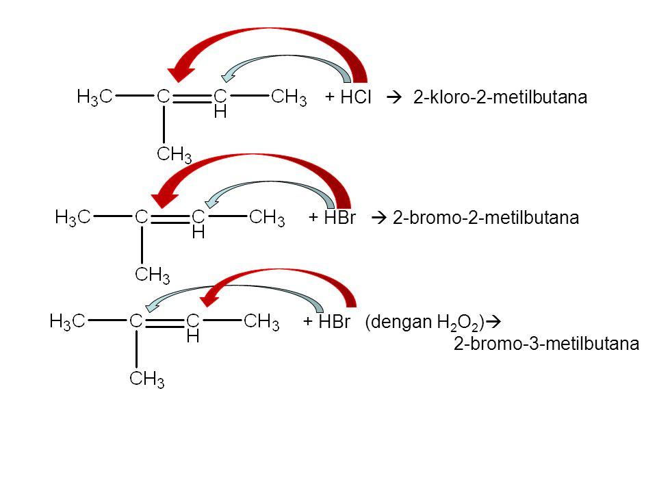 + HBr  2-bromo-2-metilbutana + HBr (dengan H 2 O 2 )  2-bromo-3-metilbutana + HCl  2-kloro-2-metilbutana