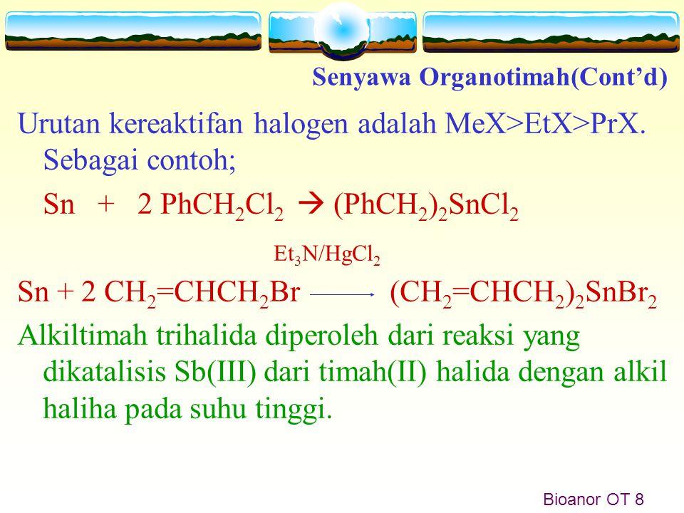 Bioanor OT 8 Urutan kereaktifan halogen adalah MeX>EtX>PrX. Sebagai contoh; Sn + 2 PhCH 2 Cl 2  (PhCH 2 ) 2 SnCl 2 Sn + 2 CH 2 =CHCH 2 Br (CH 2 =CHCH