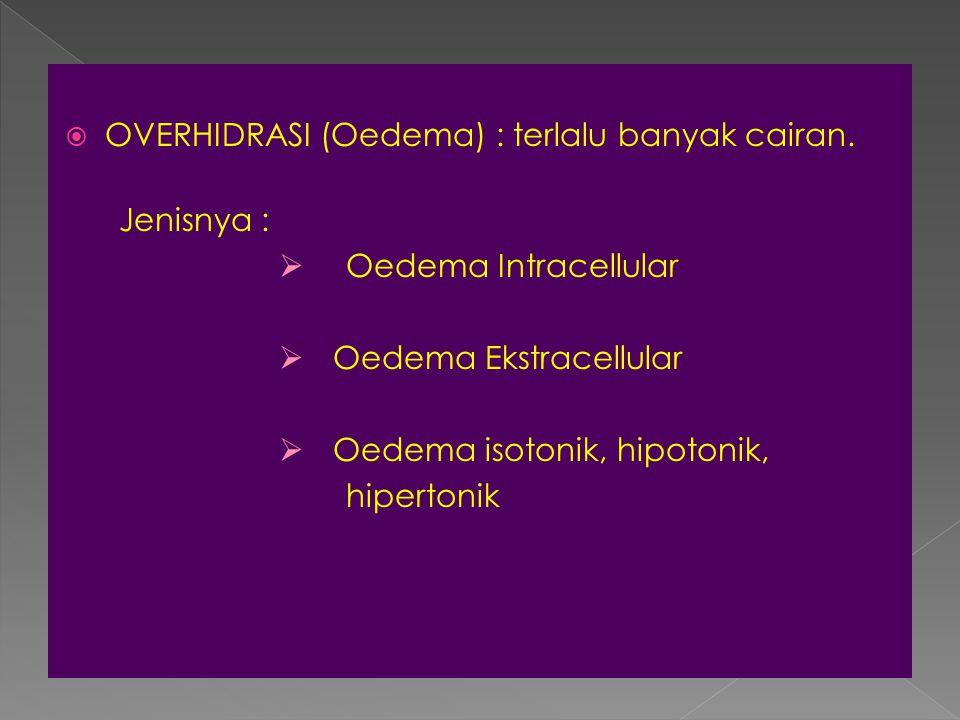  OVERHIDRASI (Oedema) : terlalu banyak cairan. Jenisnya :  Oedema Intracellular  Oedema Ekstracellular  Oedema isotonik, hipotonik, hipertonik