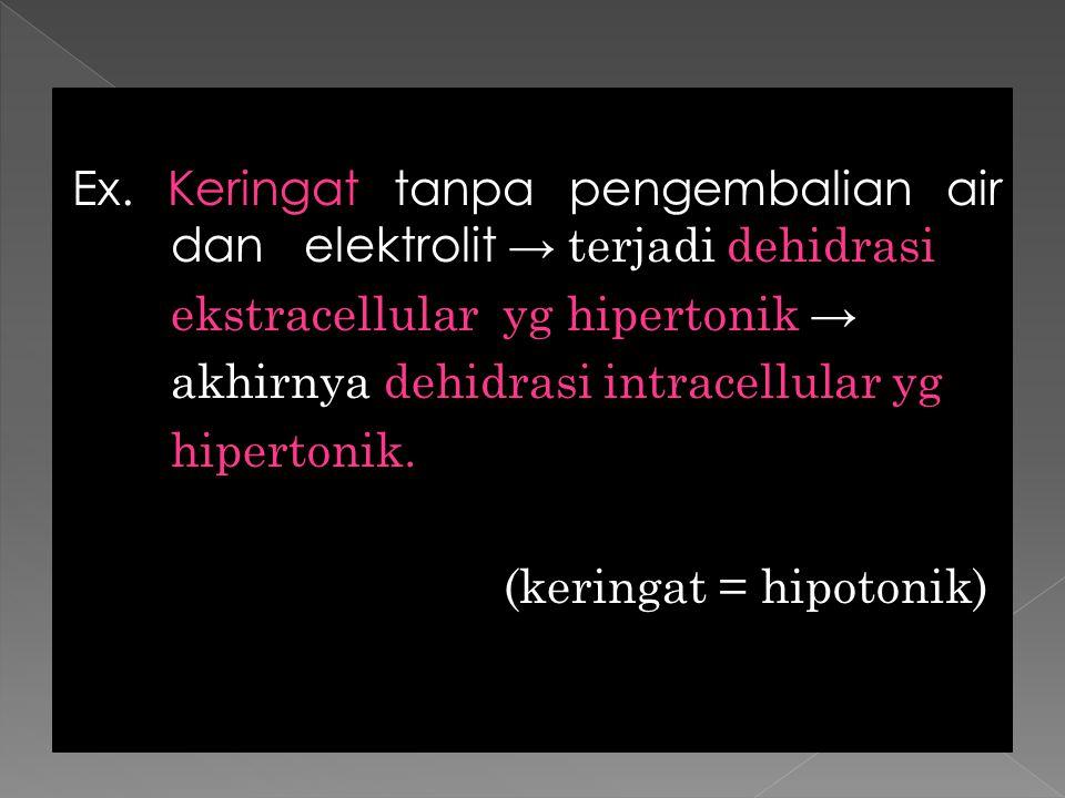 Ex. Keringat tanpa pengembalian air dan elektrolit → terjadi dehidrasi ekstracellular yg hipertonik → akhirnya dehidrasi intracellular yg hipertonik.