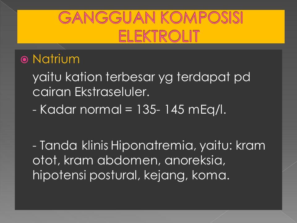  Natrium yaitu kation terbesar yg terdapat pd cairan Ekstraseluler. - Kadar normal = 135- 145 mEq/l. - Tanda klinis Hiponatremia, yaitu: kram otot, k