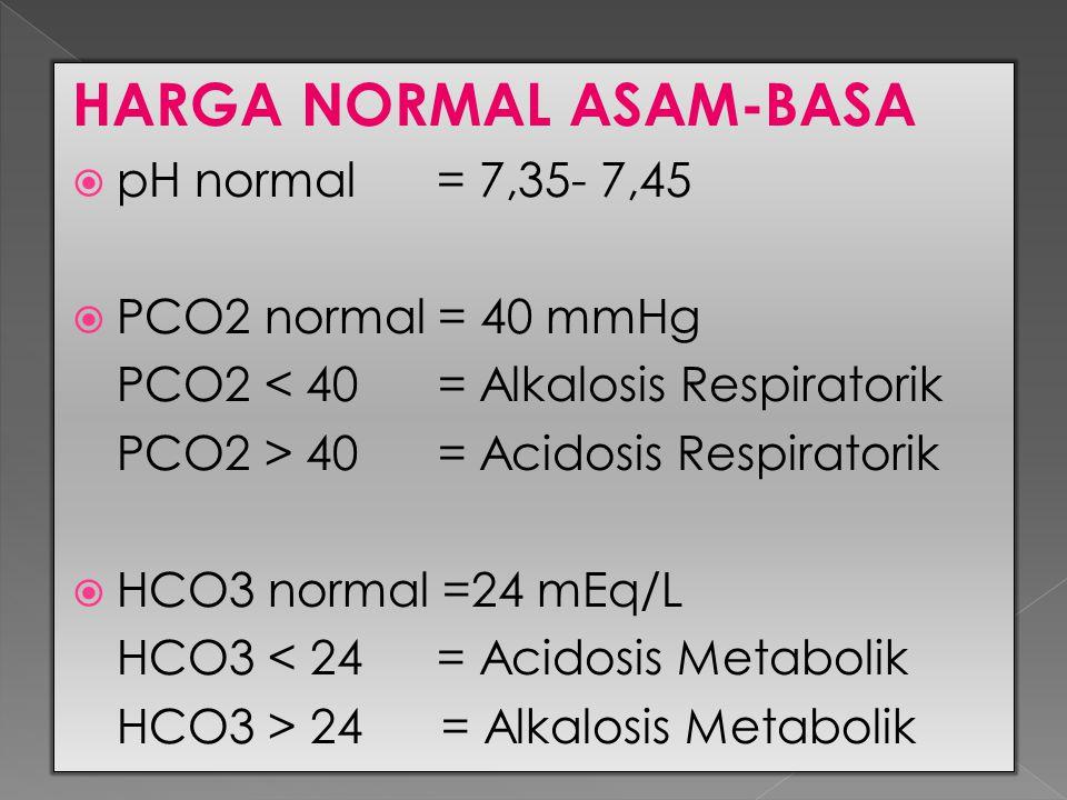 HARGA NORMAL ASAM-BASA  pH normal = 7,35- 7,45  PCO2 normal = 40 mmHg PCO2 < 40 = Alkalosis Respiratorik PCO2 > 40 = Acidosis Respiratorik  HCO3 no