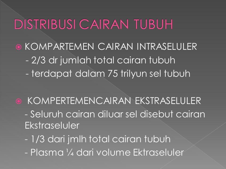  KOMPARTEMEN CAIRAN INTRASELULER - 2/3 dr jumlah total cairan tubuh - terdapat dalam 75 trilyun sel tubuh  KOMPERTEMENCAIRAN EKSTRASELULER - Seluruh