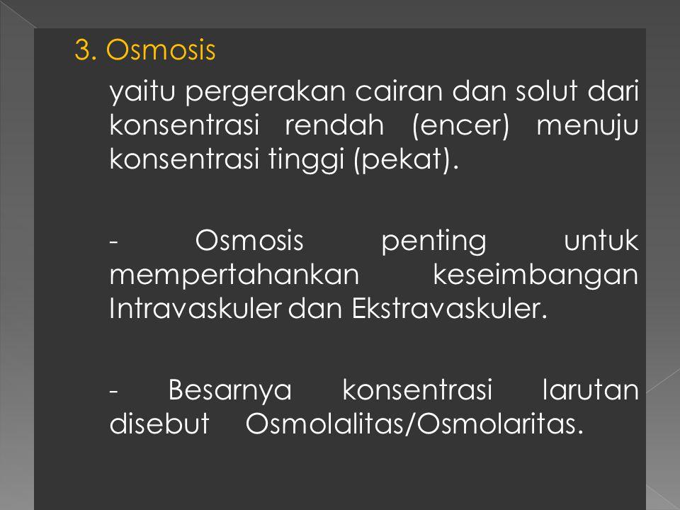 3. Osmosis yaitu pergerakan cairan dan solut dari konsentrasi rendah (encer) menuju konsentrasi tinggi (pekat). - Osmosis penting untuk mempertahankan