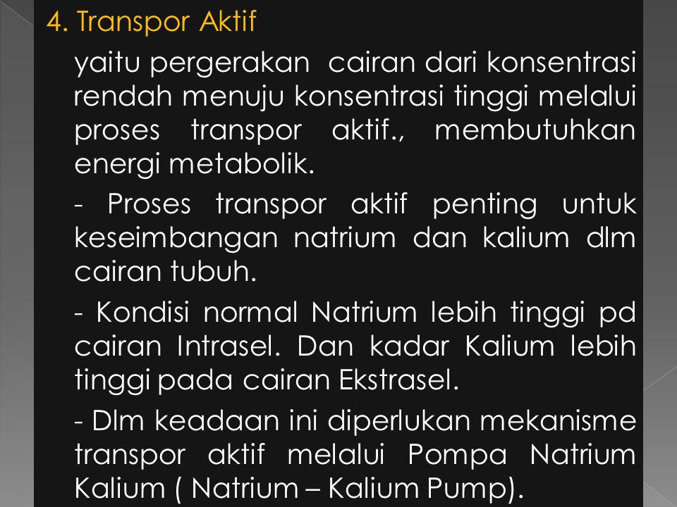 4. Transpor Aktif yaitu pergerakan cairan dari konsentrasi rendah menuju konsentrasi tinggi melalui proses transpor aktif., membutuhkan energi metabol
