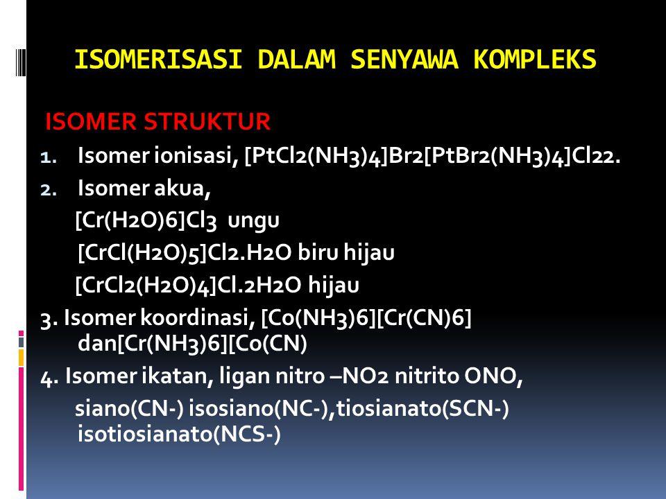 ISOMERISASI DALAM SENYAWA KOMPLEKS ISOMER STRUKTUR 1. Isomer ionisasi, [PtCl2(NH3)4]Br2[PtBr2(NH3)4]Cl22. 2. Isomer akua, [Cr(H2O)6]Cl3 ungu [CrCl(H2O