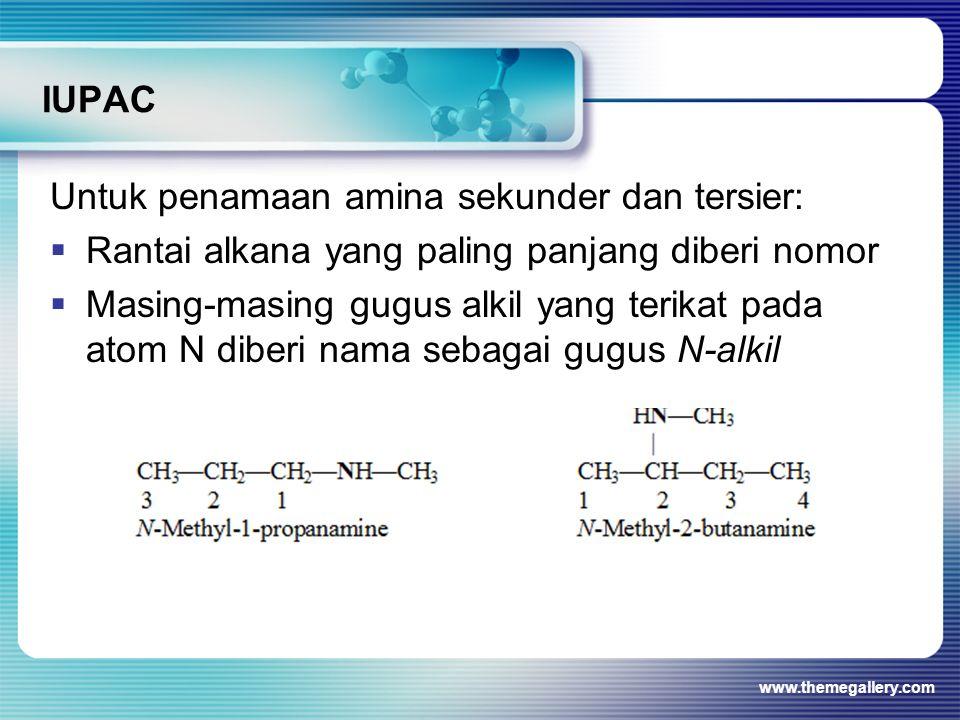 IUPAC Untuk penamaan amina sekunder dan tersier:  Rantai alkana yang paling panjang diberi nomor  Masing-masing gugus alkil yang terikat pada atom N
